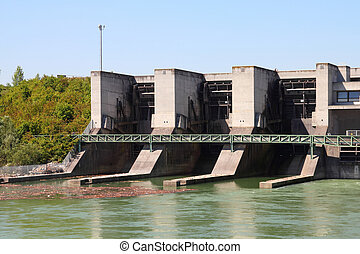 Hydropower plant - Hydro electric dam power plant on Traun...