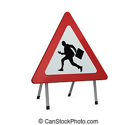 manager at work - one road sign with the silhouette of a...