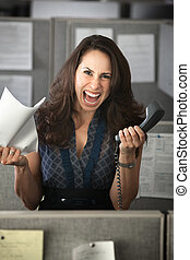 Screaming Office Worker - Screaming woman with phone and...