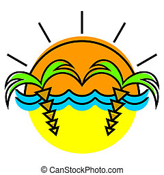 Sun and palm trees - The symbolical image of the sun, waves...