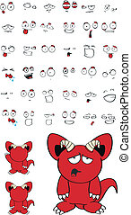 monster red cartoon set