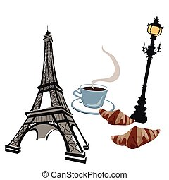 Symbols of Paris - Eiffel tower, street lights and croissant
