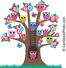 owls in a tree - lot of colorful owls sitting in a tree