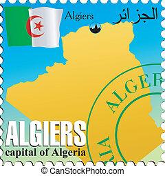 Algiers - capital of Algeria. Stamp