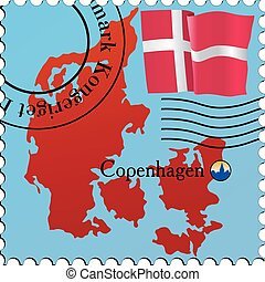 Copenhagen - capital of Denmark. Stamp