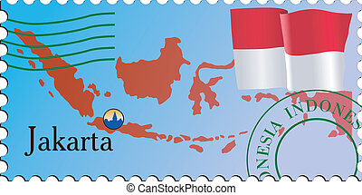 Stamp of capital - Jakarta - capital of Indonesia