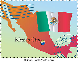 Stamp of capital - Mexico City - capital of Mexico