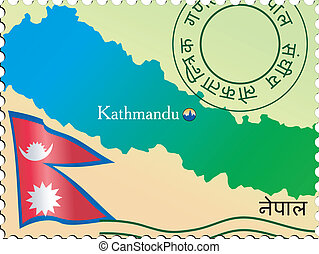 Stamp of capital - Kathmandu - capital of Nepal