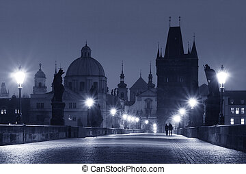 Charles Bridge Prague - Prague - Charles Bridge in Early...