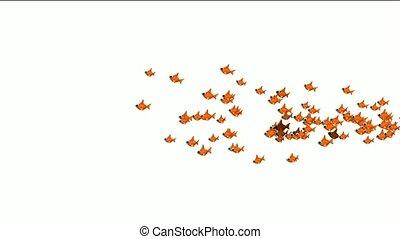 a group of cartoon goldfish.