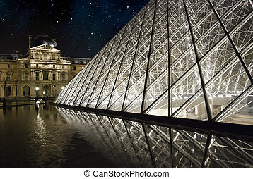 Night and Stars over Louvre, Paris - Night and Stars over...