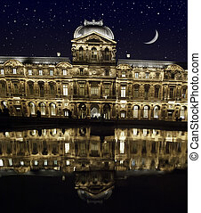 Stars and Reflection, The Louvre in Paris - Stars and...