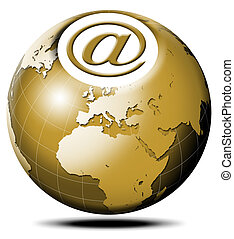 e-mail global - Pulsating icon with symbol e-mail and...