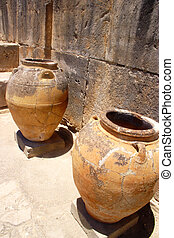 Ancient minoan jars at Phaistos Crete - Ancient pithoi jars...