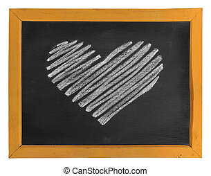heart icon hand-drawn on wooden blackboard
