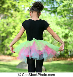 Girl Ballerina in Tutu - Young African American multiracial...