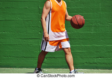 Basket ball in hand