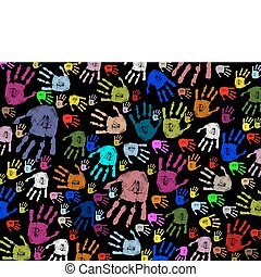 colorful hand prints - Colorful hand prints on black texture...