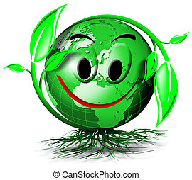 World tree smile - Illustration with green terrestrial globe...