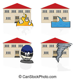 Home insurance - Illustration of an icon set showing a house...