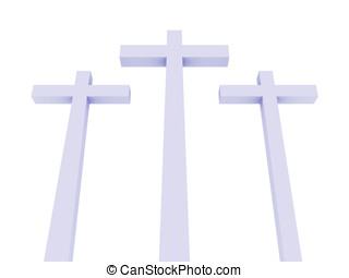 Crosses - Three crosses over a white background. Christian...