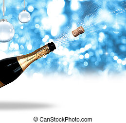 Champagne - Festive Christmas background with champagne