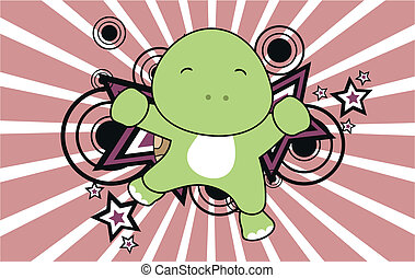 turtle jump cartoon background in vector format