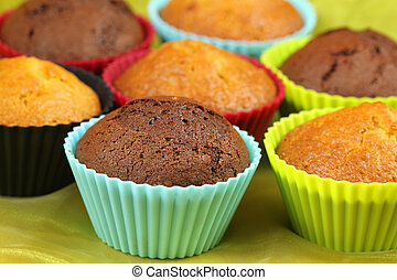 Muffins in colorful cupcakes - Chocolate and lemon muffins...