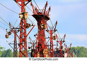 industrial cableway and moving trolleys