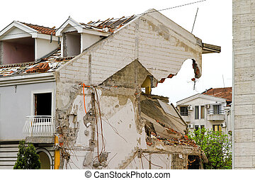 Earthquake - Damaged house after strong earthquake natural...