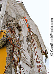 Earthquake detail - Detail of ruined house after earthquake...