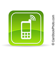 Green Mobile Phone Icon - High resolution green mobile phone...