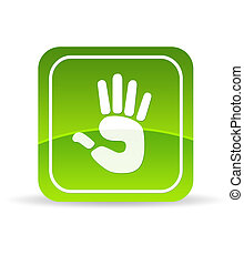 Green Hand Icon - High resolution green hand icon on white...