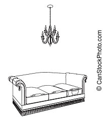 Antique Bed And Chandelier Vector