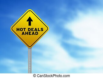 Hot Deals Ahead Road Sign - High resolution graphic of a...