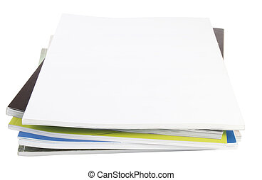 magazines - stack of magazines for your magazine on a white...
