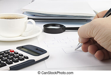 Desktop - Desk with a calculator, journals, pen and coffee...