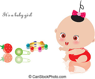baby girl - vector illustration of lovely baby girl and...