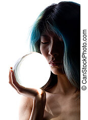Crystal portrait - Semi silhouette of girl holding crystal...