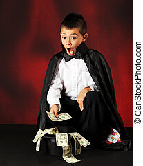 Magic Money - A young magician astounded with dollar bills...