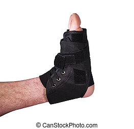 ankle injury in tied laced cast - mans ankle in a laced cast...