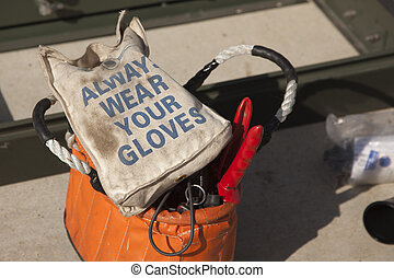 Always Wear Your Gloves Electricians Work Bag and Tools