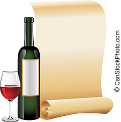Glass of red wine with bottle - Background with bottle and...