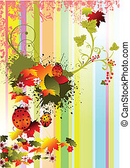 Grunge autumn floral background, vector illustration