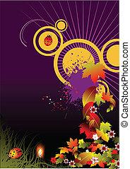 Grunge autumn floral background, vector illustration