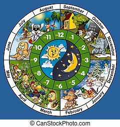 Clock Face - Cartoon Illustration, Bitmap