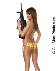 Arma, mujer, joven, tenencia