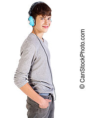 Young fresh teenager with headphones