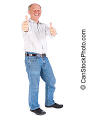 Portrait of old man showing thumbs up - Old man showing...