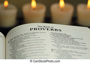 Bible, The Book of Proverbs - A close up image of the title,...